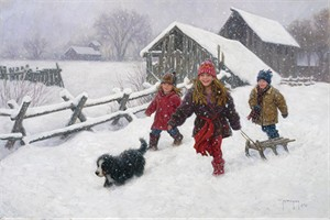 "Robert Duncan Hand Signed and Numbered Limited Edition Canvas Giclee:""When the Snow Falls"""