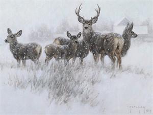 "Robert Duncan Open Edition Canvas Giclee:""Our Winter Neighbors"""