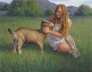 "Robert Duncan Hand Signed and Numbered Limited Edition Canvas Giclee:""The Goat Girl"""