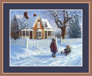 """Robert Duncan Framed Art Print:""""Emma's Sleigh Ride"""""""