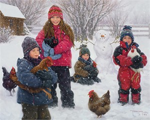 "Robert Duncan Hand Signed and Numbered Limited Edition Canvas Giclee:""The Chicken Wranglers """
