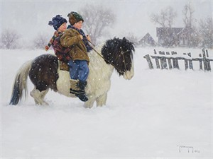 """Robert Duncan Hand Signed and Numbered Limited Edition Canvas Giclee:""""Playing with Molly"""""""