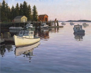 "Robert Duncan Hand Signed and Numbered Limited Edition Canvas Giclee:""Evening at Port Clyde"""