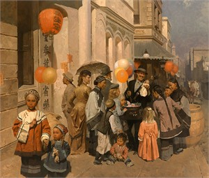 "Mian Situ Hand signed and Numbered Limited Edition Giclée Canvas:""Toy Peddler of Dupont Street, Chinatown,S.F. 1905"""