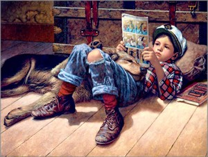 "Jim Daly Artist Hand Signed Fine Art Canvas Giclee:""Favorite Reader"""
