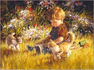 """Jim Daly Artist Hand Signed Fine Art Canvas Giclee:""""Unexpected Company"""""""