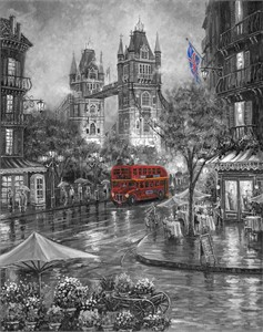 "Robert Finale Artist Signed Limited Edition Sublimation on Metal:""Rainy Days of London- B&W"""