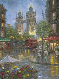 "Robert Finale Artist Signed Limited Edition Sublimation on Metal:""Rainy Days of London - Color"""