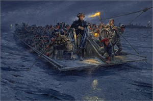"Mort Künstler Hand Signed and Numbered Limited Edition Canvas Giclee:""Washington's Crossing"""