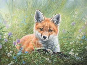 "Abraham Hunter Hand Signed and Numbered Limited Edition Embellished Canvas Giclee:""Curious Kit"""