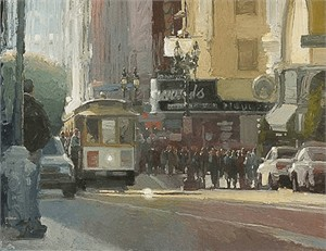 "Ken Auster Handsigned and Numbered  Limited Edition Giclee on Canvas:""Other Side of the Tracks"""