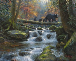 "Mark Keathley Hand Signed and Numbered Limited Edition Embellished Canvas Giclee:""Precarious Crossing"""