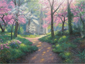 "Mark Keathley Hand Signed and Numbered Limited Edition Embellished Canvas Giclee:""Spring Chapel"""