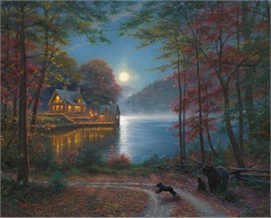 "Mark Keathley Hand Signed and Numbered Limited Edition Embellished Canvas Giclee:""Lakeside Dreams"""