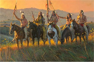 "Mark Keathley Hand Signed and Numbered Limited Edition Embellished Canvas Giclee:""Boundaries"""