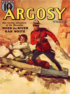 """Other Pulp Covers Vintage Re-mastered Gallery Wrap Canvas Giclee Reproduction:""""Argosy SF129 - WhenTheRiverRanWhite"""""""