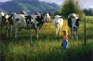 "Robert Duncan Limited Edition Giclee on Canvas:""Anniken and the Cows"""