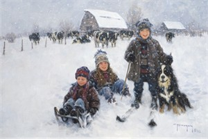 "Robert Duncan Limited Edition Giclee on Canvas:""Winter Games"""