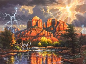 "Abraham Hunter Limited Edition Artist Proof Embellished Canvas Giclee:""Sedona Majesty"""