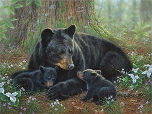 "Abraham Hunter Hand Signed and Numbered Limited Edition Embellished Canvas Giclee:""Tender Moments """