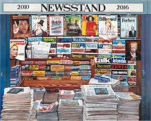 """Ken Keeley Limited Edition Giclee on Canvas:""""2010-2016 Newsstand """""""