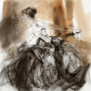 """Anna Razumovskaya Hand Signed and Numbered Limited Edition Artist Embellished Canvas Giclee: """"Midday Shadows"""""""