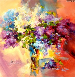 """Anna Razumovskaya Hand Signed and Numbered Limited Edition Artist Embellished Canvas Giclee: """"WILD LILAC 5"""""""