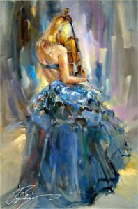 "Anna Razumovskaya Hand Signed and Numbered Limited Edition Artist Embellished Canvas Giclee: ""Dancing With A Violin 1"""