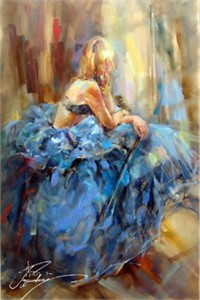 "Anna Razumovskaya Hand Signed and Numbered Limited Edition Artist Embellished Canvas Giclee: ""Dancing With A Violin 3"""