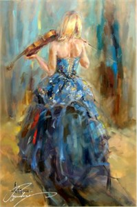 "Anna Razumovskaya Hand Signed and Numbered Limited Edition Artist Embellished Canvas Giclee: ""Dancing With A Violin 4"""