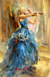 "Anna Razumovskaya Hand Signed and Numbered Limited Edition Artist Embellished Canvas Giclee: ""Dancing With A Violin 2"""