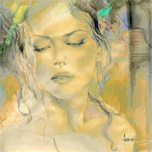 "Anna Razumovskaya Hand Signed and Numbered Limited Edition Artist Embellished Canvas Giclee: ""Sense Of a Woman 1"""