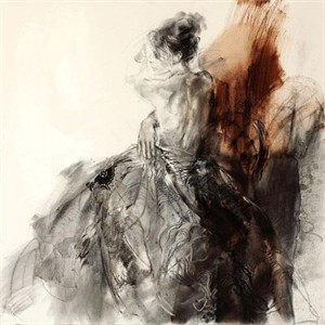 "Anna Razumovskaya Hand Signed and Numbered Limited Edition Artist Embellished Canvas Giclee: ""La Marquise 1"""