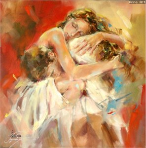 "Anna Razumovskaya Hand Signed and Numbered Limited Edition Artist Embellished Canvas Giclee: ""EMBRACES"""