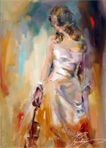 "Anna Razumovskaya Hand Signed and Numbered Limited Edition Artist Embellished Canvas Giclee: ""Holding The Violin"""