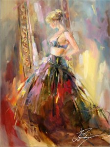 "Anna Razumovskaya Hand Signed and Numbered Limited Edition Artist Embellished Canvas Giclee: ""Black Gown"""