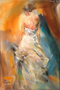 "Anna Razumovskaya Hand Signed and Numbered Limited Edition Artist Embellished Canvas Giclee: ""The Night Flower"""