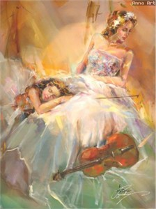 "Anna Razumovskaya Hand Signed and Numbered Limited Edition Artist Embellished Canvas Giclee: ""Summer Melody"""