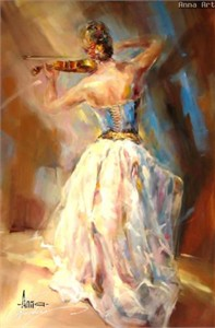 "Anna Razumovskaya Hand Signed and Numbered Limited Edition Artist Embellished Canvas Giclee: ""BLUE NOTE 3"""