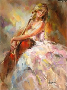 "Anna Razumovskaya Hand Signed and Numbered Limited Edition Artist Embellished Canvas Giclee: ""HARMONY I"""