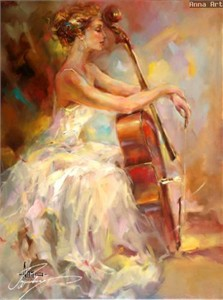 "Anna Razumovskaya Hand Signed and Numbered Limited Edition Artist Embellished Canvas Giclee: ""HARMONY II"""
