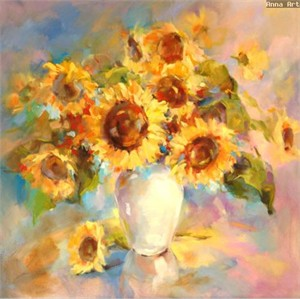 "Anna Razumovskaya Hand Signed and Numbered Limited Edition Artist Embellished Canvas Giclee: ""SUNFLOWERS"""