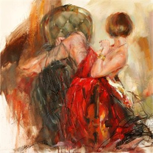 "Anna Razumovskaya Hand Signed and Numbered Limited Edition Artist Embellished Canvas Giclee: ""Perfect Balance"""