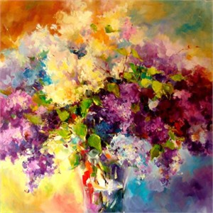 "Anna Razumovskaya Hand Signed and Numbered Limited Edition Artist Embellished Canvas Giclee: ""WILD LILAC"""