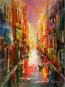 """Anna Razumovskaya Hand Signed and Numbered Limited Edition Artist Embellished Canvas Giclee: """"CITY IN BLUE 2"""""""