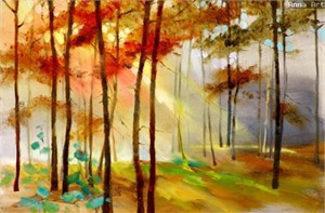 """Anna Razumovskaya Hand Signed and Numbered Limited Edition Artist Embellished Canvas Giclee: """"BEAUTY OF AUTUMN 1"""""""