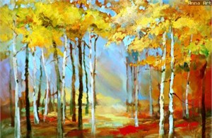 "Anna Razumovskaya Hand Signed and Numbered Limited Edition Artist Embellished Canvas Giclee: ""BEAUTY OF AUTUMN 2"""