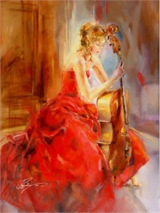 "Anna Razumovskaya Hand Signed and Numbered Limited Edition Artist Embellished Canvas Giclee: ""RED NOTE II"""