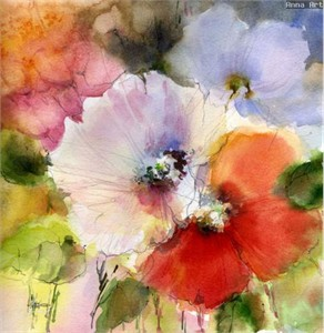 "Anna Razumovskaya Hand Signed and Numbered Limited Edition Artist Embellished Canvas Giclee: ""SUMMER FLOWERS 7"""