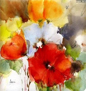 """Anna Razumovskaya Hand Signed and Numbered Limited Edition Artist Embellished Canvas Giclee: """"SUMMER FLOWERS"""""""